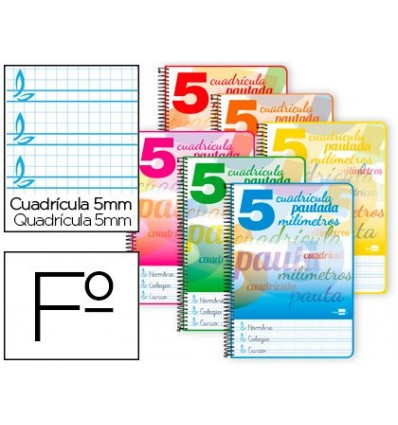 SPIRAL NOTEBOOK LIDERPAPEL FOLIO PAUTAGUIA SOFTCOVER 80H 80 GR TABLE PAUTADO 5MM MARGINED COLORS ASSORTED 5 Units