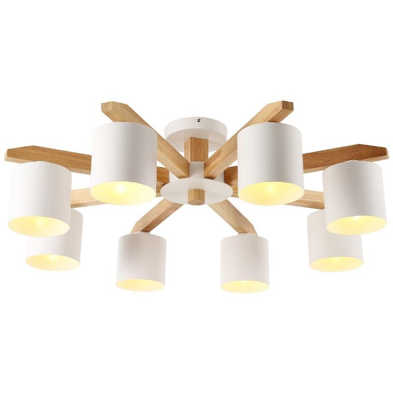 Personnalité nordique simple fer forgé bois massif E27 blanc & noir & gris couleur lustre pour chambre cuisine salon bedr