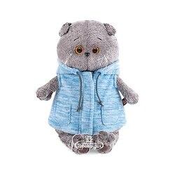 Soft toy Budi Basa Cat Bass in blue vest, 22 cm