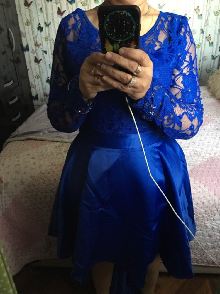 Evening Party Date Asymmetric Satin Hollow Out Floral Lace Long Dress Women Spring Summer Royal Blue Burgundy Red Maxi Dresses photo review