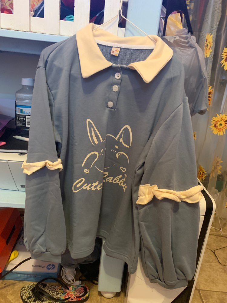 Soft Girl Cute Rabbit Letter Women Hoodies Japanese Kawaii Bunny Graphic Vintage Sweatshirts Kpop Long Sleeve Ruffles Clothes photo review