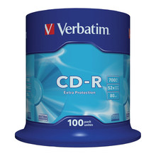 Диски CD-R VERBATIM 700 Mb 52х, КОМПЛЕКТ 100 шт., Cake Box, 43411 (арт. 511899)