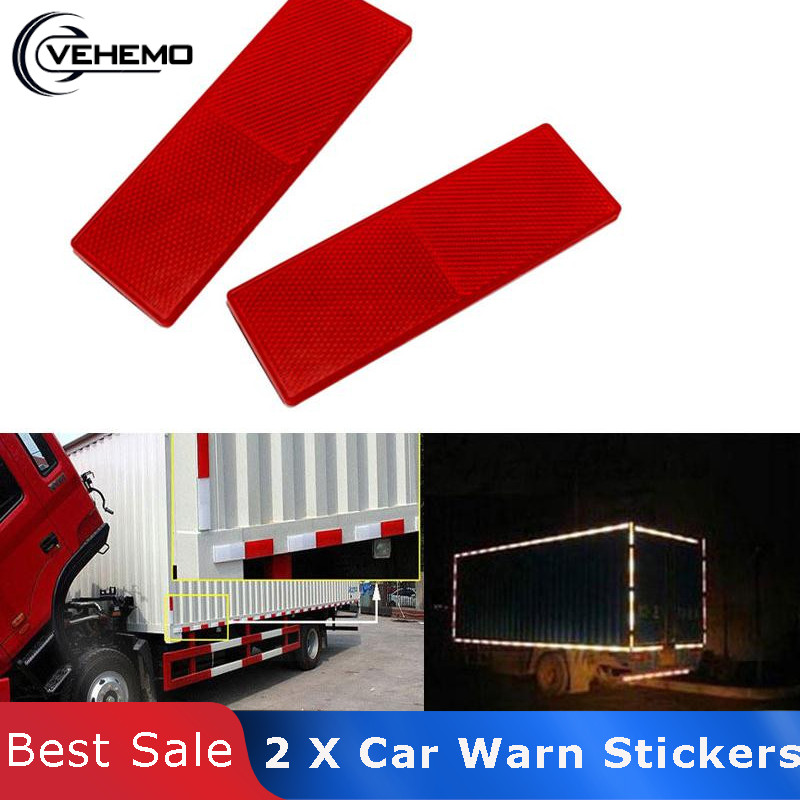 Vehemo 2ps Red Plastic Reflector Reflective Warning Plate Stickers Sign Sheeting Universal Car For SUV Truck Motorcycle Safety bande réfléchissante scooter orange pour fourche