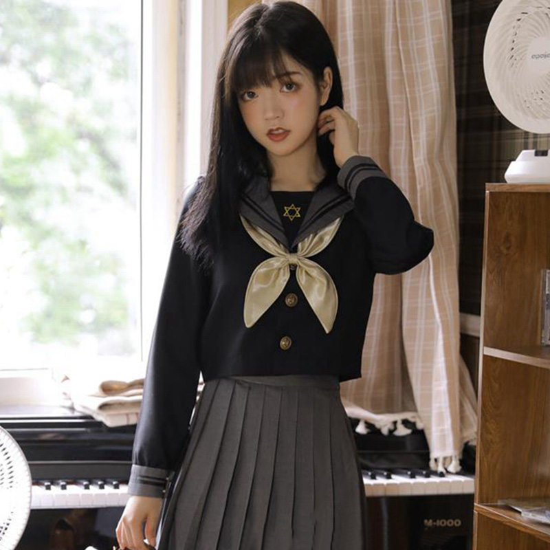 Japan Orthodox Jk Uniform Soft Girl Long Sleeve Sailor Suit Female Middle School Student Wear School Uniform Black College Style