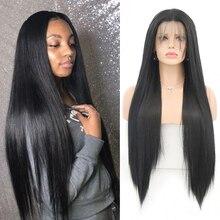 Харизма, синтетический парик на сетке спереди для черных женщин, цвет 1B, длинные прямые волосы с естественной линией волос, парики на сетке с...