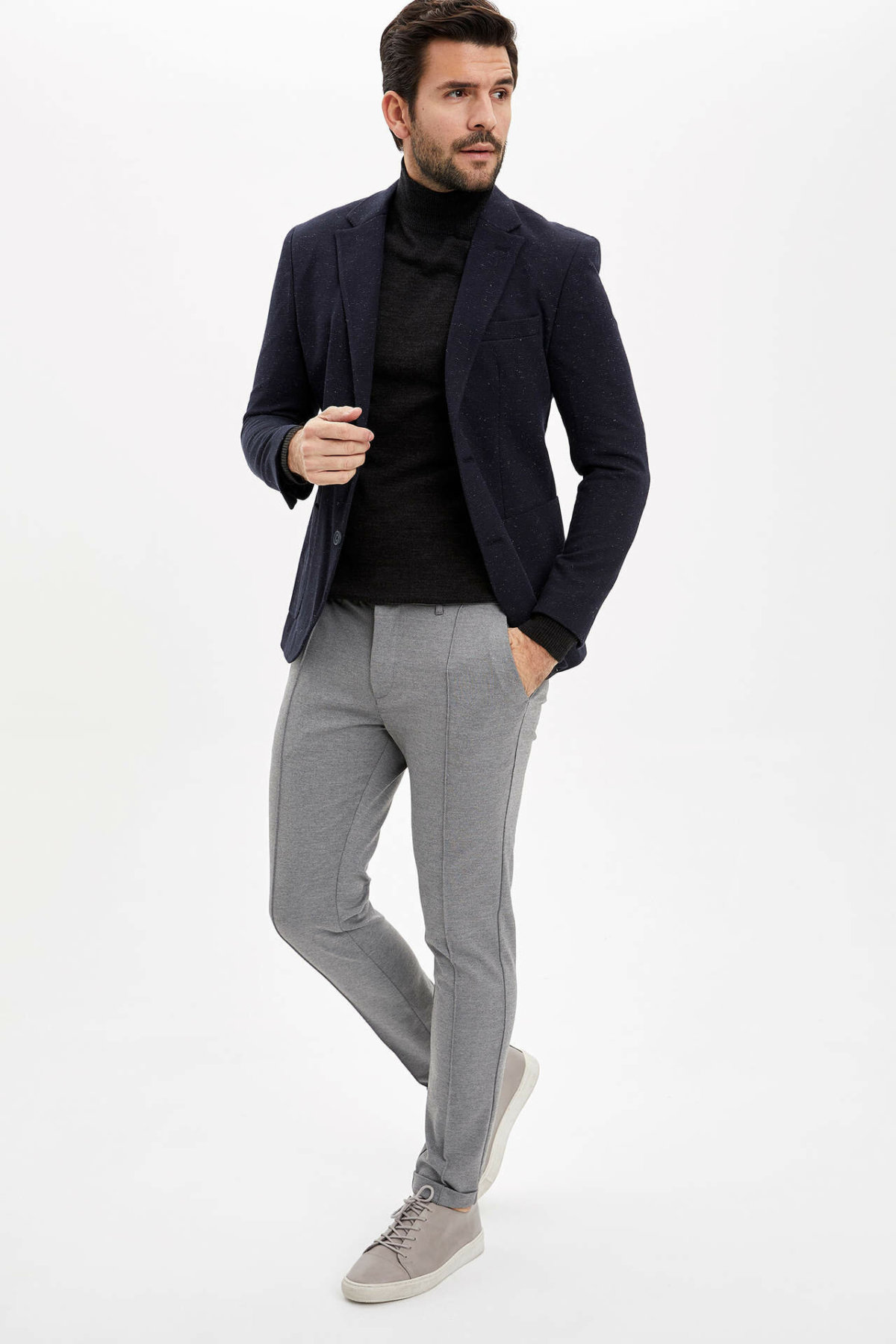DeFacto Man's Casual Light Grey Long Pants Men's Smart Casual Bottoms Men's Mid-waist Trousers-M7856AZ20SP