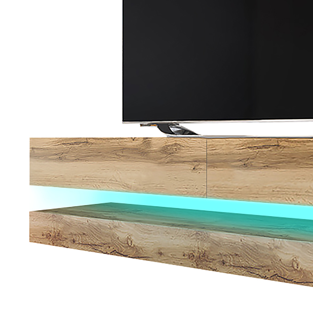 HYLIA Meuble TV suspendu (140 cm, chêne wotan avec LED) 3