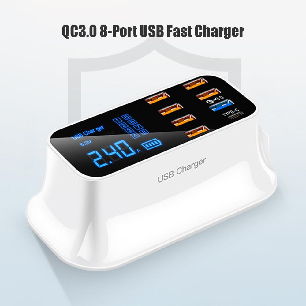 Универсальное быстрое зарядное устройство 8 портов Быстрая зарядка 3,0 LED дисплей USB зарядное устройство для Android iPhone планшет Samsung Xiaomi Huawei теле...