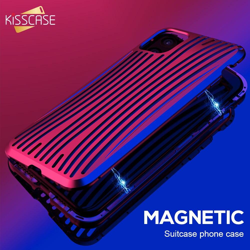 Kisscase adsorção magnética caso de metal para iphone xr 11 pro max vidro temperado caso de telefone para iphone x xs max 7 8 mais capinha