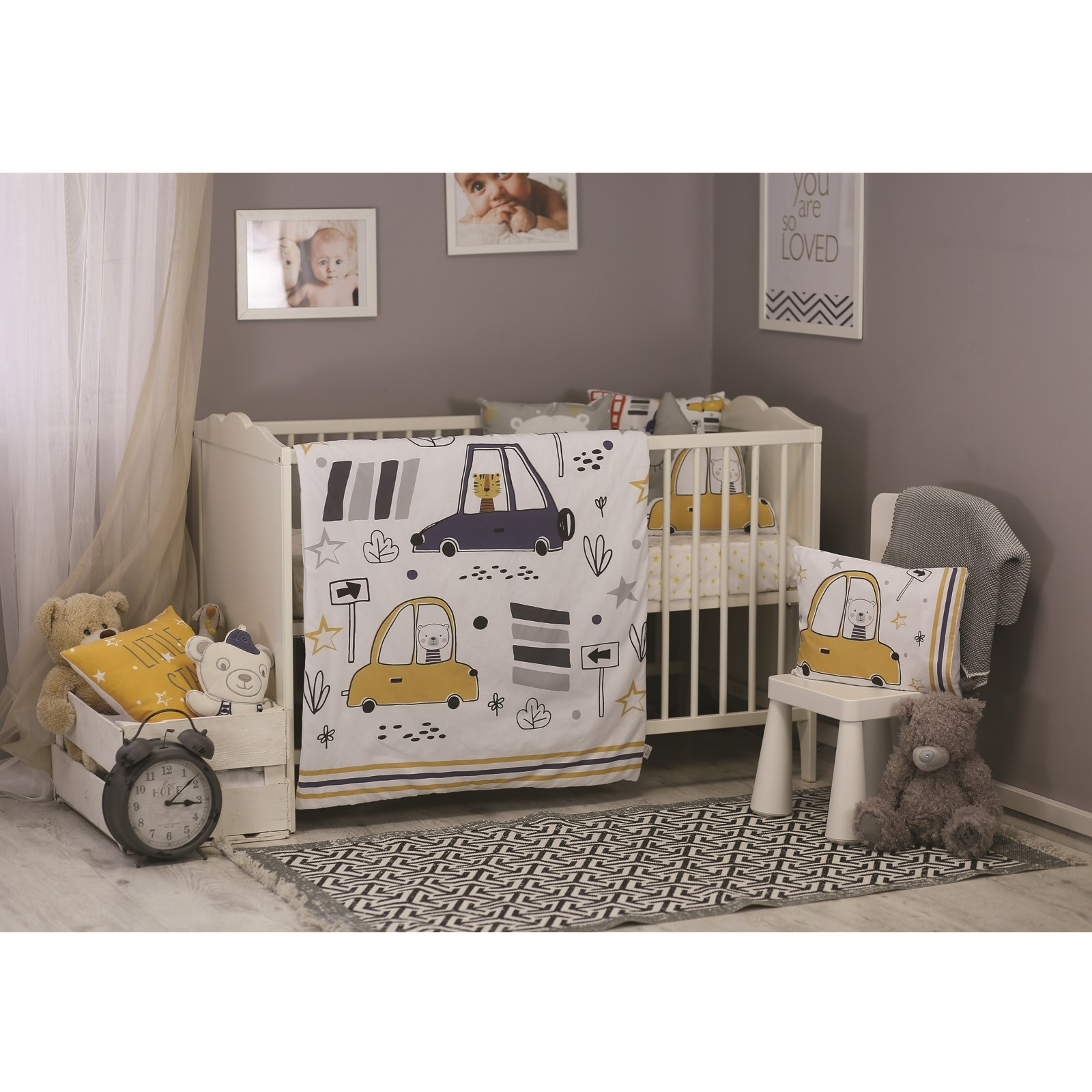 Ebebek Apolena Baby Cars Bed Duvet Cover & Pillow Case 2 Pcs Set