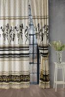 Africa Concept 140x280 cm Background Curtain Living Room Curtain Rustic Satin Ready for Hook Easy Installation