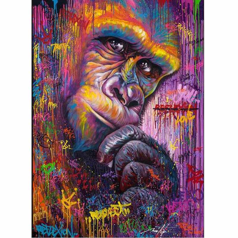 Peinture de singe de couleur de broderie de diamant