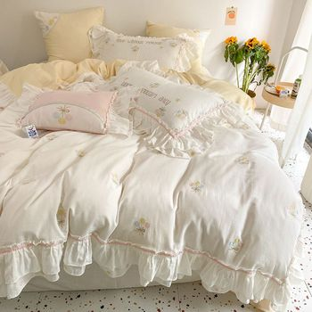 Embroidery Comforter Bedding Set Bed Linen Cotton Duvet Cover Family King Queen Size Bedding Sets Washed Cotton Bed Cover Set 4pcs 600tc egyptian cotton soft duvet cover bed sheet set queen king size silky soft simple style embroidery hotel bedding set