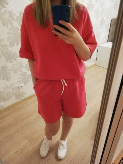 Toppies Summer Tracksuits Womens Two Peices Set Leisure Outfits Cotton Oversized T-shirts High Waist Shorts Candy Color Clothing photo review