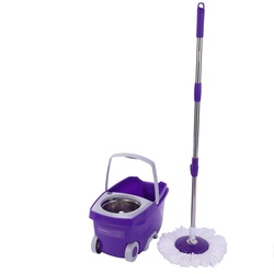 SOKOLTEC Mop Bucket Hand Free Wringing Stainless Steel Mop Self Wet And Cleaning System Dry Cleaning Microfiber Wheel Mop Nozzle