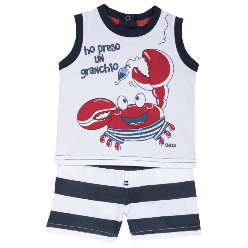 Set T shirt and shorts Chicco, size 080, color crab (dark blue)