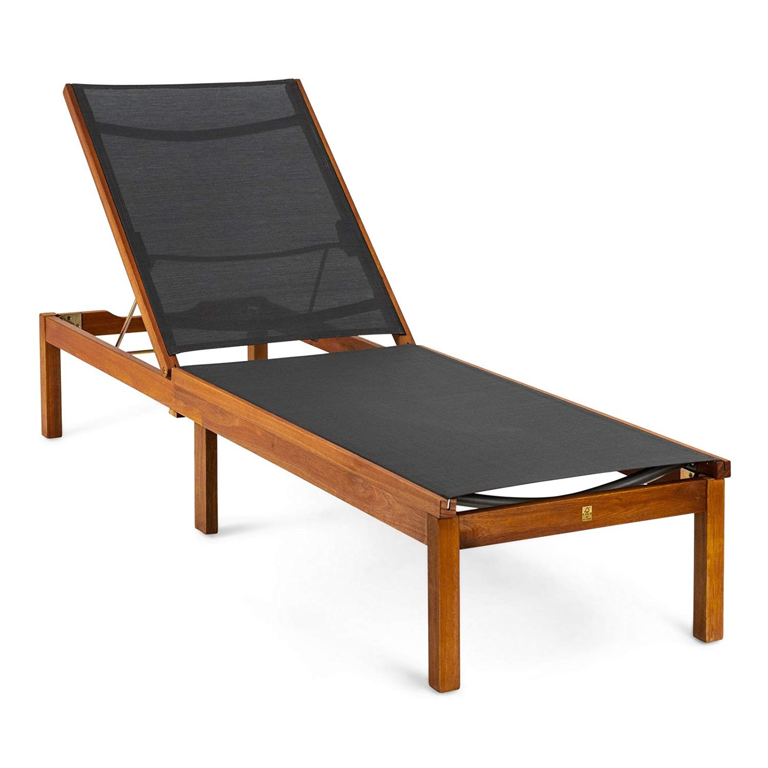 Kingsbury Lounger Garden With Wheels, Eucalyptus Wood Fsc, Steel And Textile-50021001168556