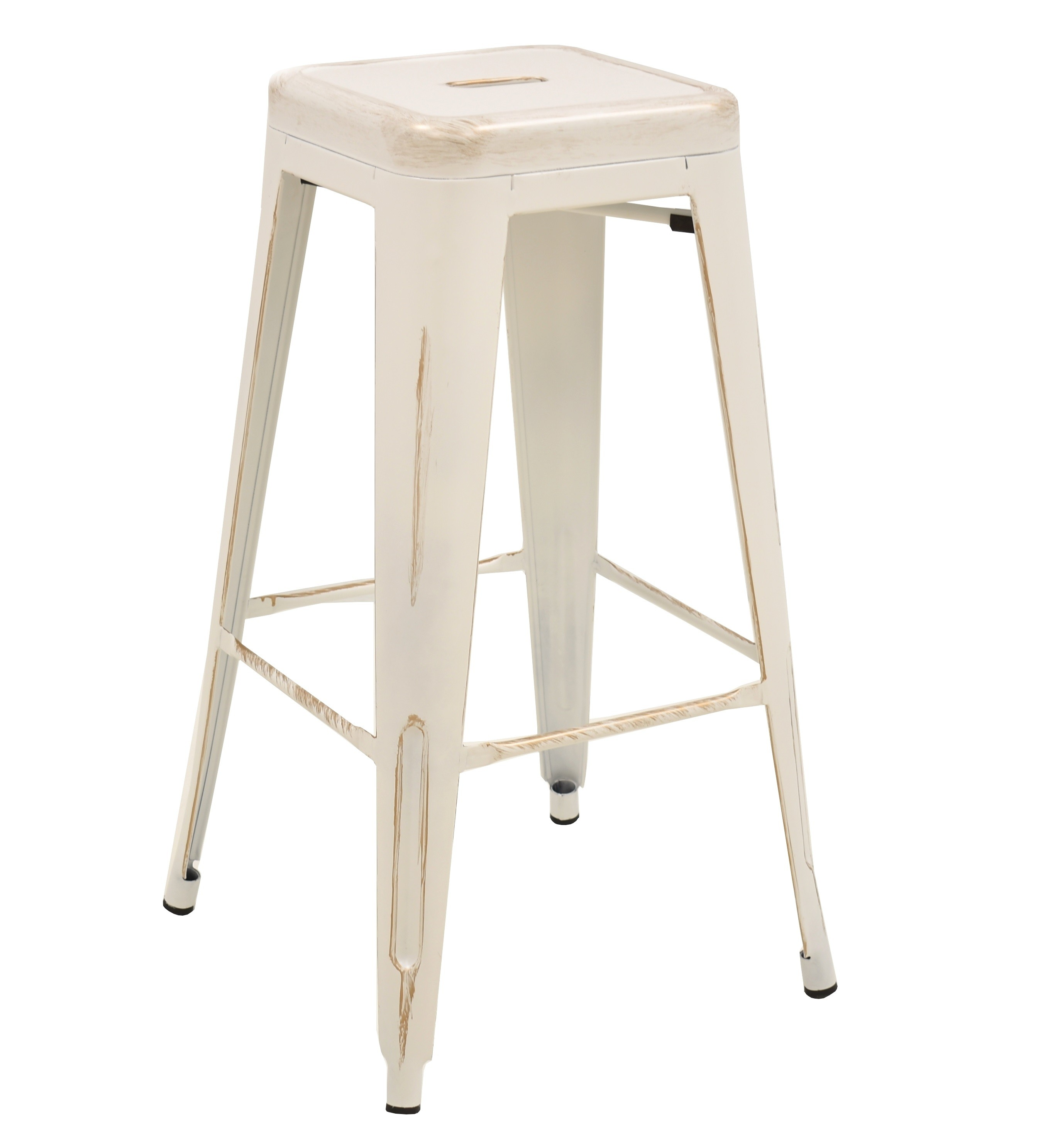 Stool TOL D RETRO, White Steel, Brushed Gold