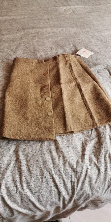 Winter Skirt Women Skort Arrivals Khaki Black High Waist A Line Cashmere Skirt Korean Style Women Mini Skirts Hot Sale photo review