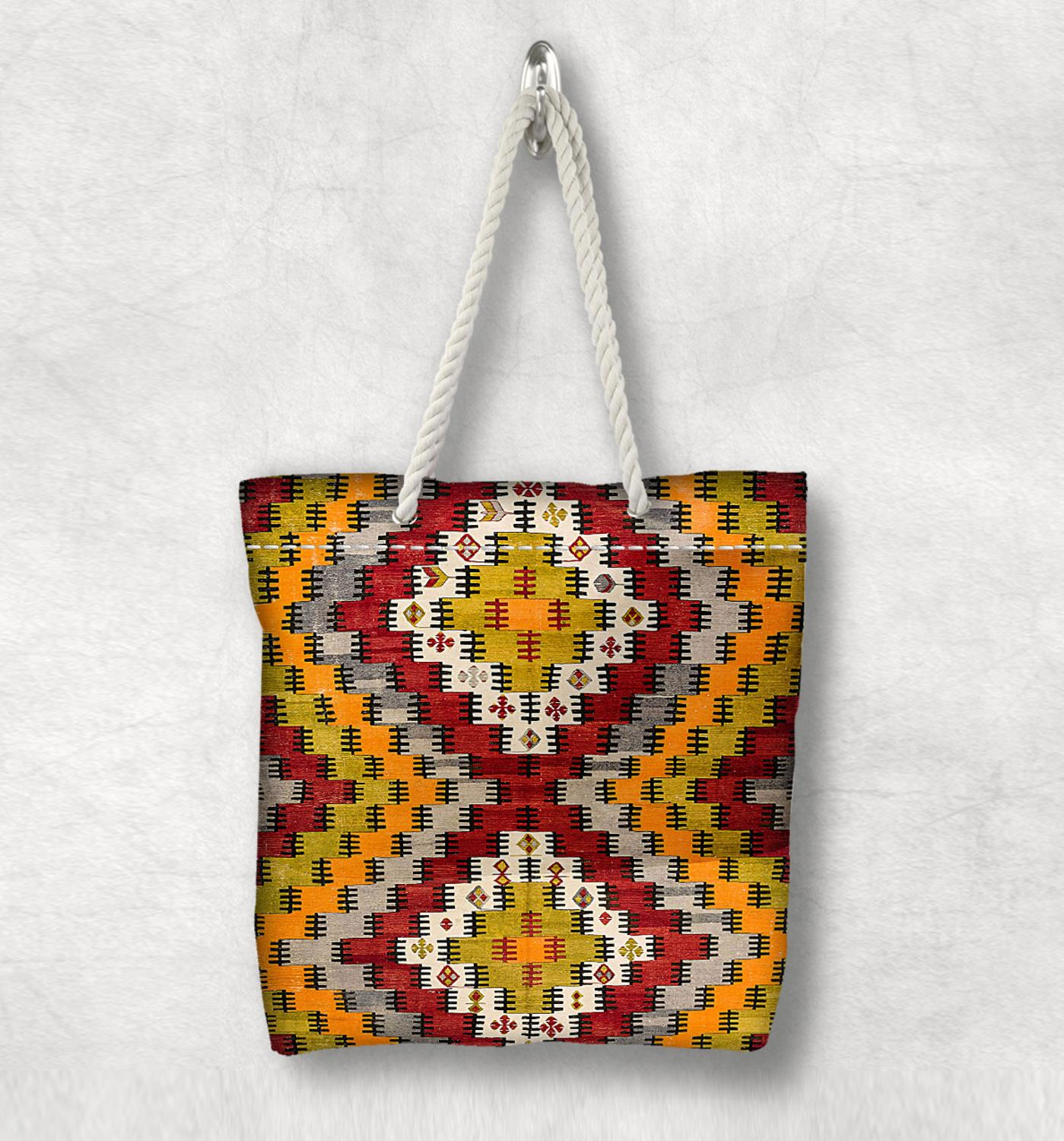 Else Yellow Red Box Anatolia Antique Kilim Design White Rope Handle Canvas Bag Cotton Canvas Zippered Tote Bag Shoulder Bag
