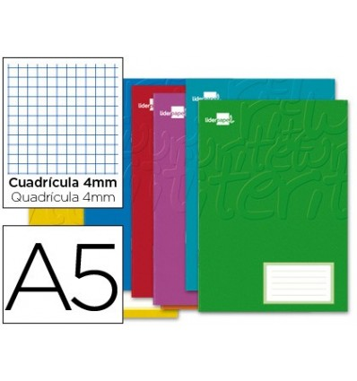 BOOK LIDERPAPEL WRITE A5 32 SHEETS 60G/M2CUADRO 4MM WITH MARGIN 20 Units