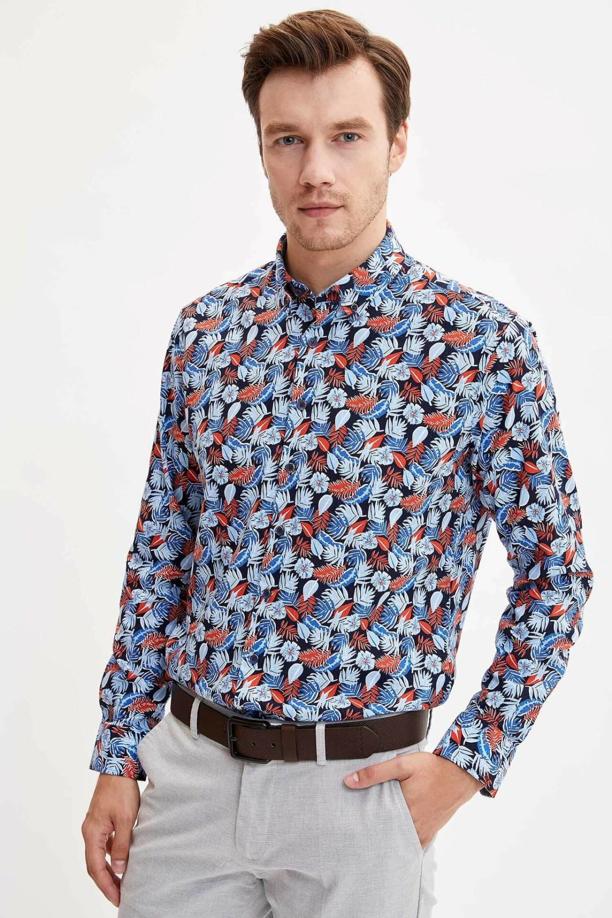 DeFacto Men Long Sleeve Shirts Tropical Plants Design Men's Autumn Smart Casual Top Shirts High Quality-L5831AZ19AU