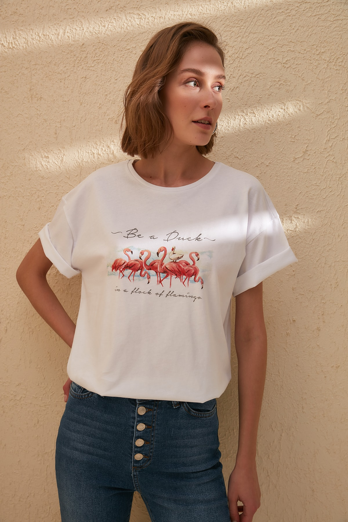 Trendyol Women's Cotton T-shirt Print Detailed Boyfriend Tops Women Knitted TShirt TWOSS20TS0231