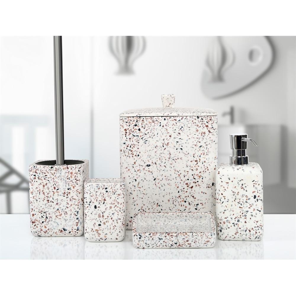 white bathroom accessory set