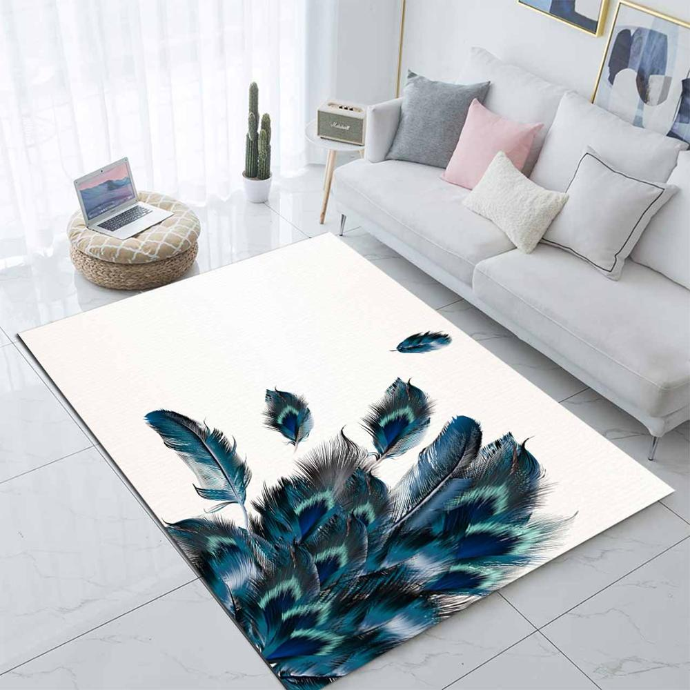 Else White Blue Green Feathers Modern Scandinav 3d Print Non Slip Microfiber Living Room Decorative Modern Washable Area Rug Mat