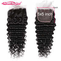 Brazilian 5x5 Deep Wave Closure Pre Plucked With Baby Hair Remy Human Hair 5x5 Lace Closure Free Middle Three Part Wonder girl