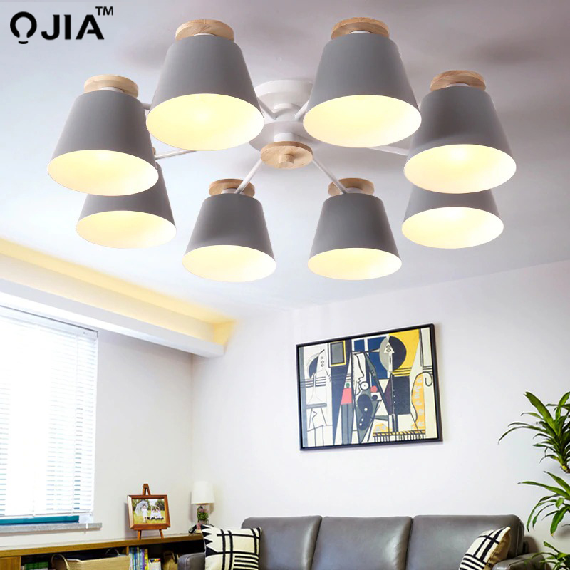 Image 3 - Chandeliers  Living Room suction top Lighting grey green blue yellow pink body Wooden Hanging Light Lampshade Kitchen Lights-in Chandeliers from Lights & Lighting