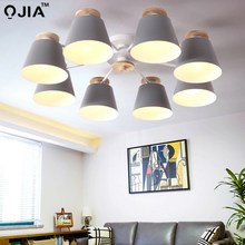Chandeliers Living Room suction top Lighting grey green blue yellow pink body Wooden Hanging Light Lampshade Kitchen Lights(China)