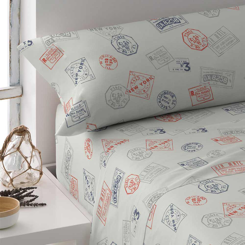 PimpamTex-Sheets Set Stamped, 3 Piece For Bed. Measures 90, 105, 135, 150 Or 180. Clothing Bed Set Polycotton