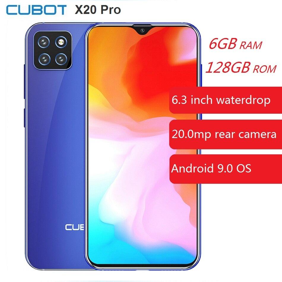Cubot x20 pro 4g smartphone 6.3 polegada android 9.0 helio p60 octa núcleo 6 gb ram 128 gb rom 20.0 mpcamera 4000 mah celular celular