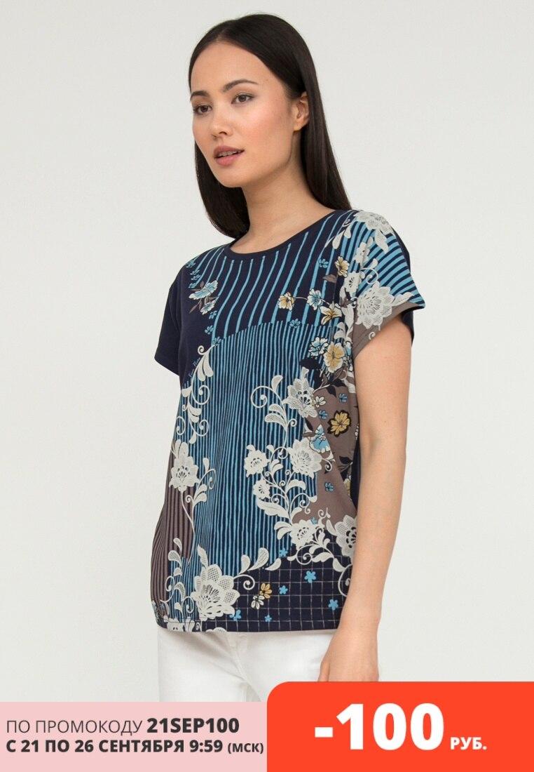 Finn Flare легкая женская футболка с цветочным принтом, коллекция лето 2020 Футболки      АлиЭкспресс