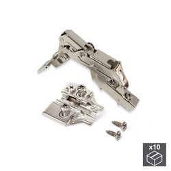 Lot of 10 hinges elbow X91 Emuca opening 165 ° with soft closing and supplements Euro regulation eccentric