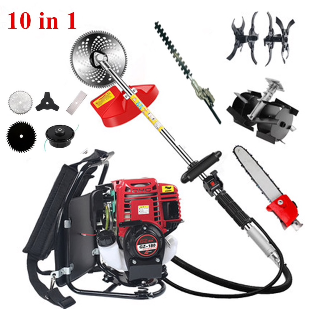 GX35Backpack 10 In 1 Brush Cutter 4 Stroke GX35 Engine Petrol Strimmer Grass Cutter Tiller Tool Cultivator Trimmer