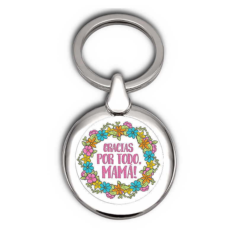 Silver Plated Keychain - Mother´s Day - Digital Printing With Clear Dome - Choice Of Eight Designs - Velvet Pouch Is Included.