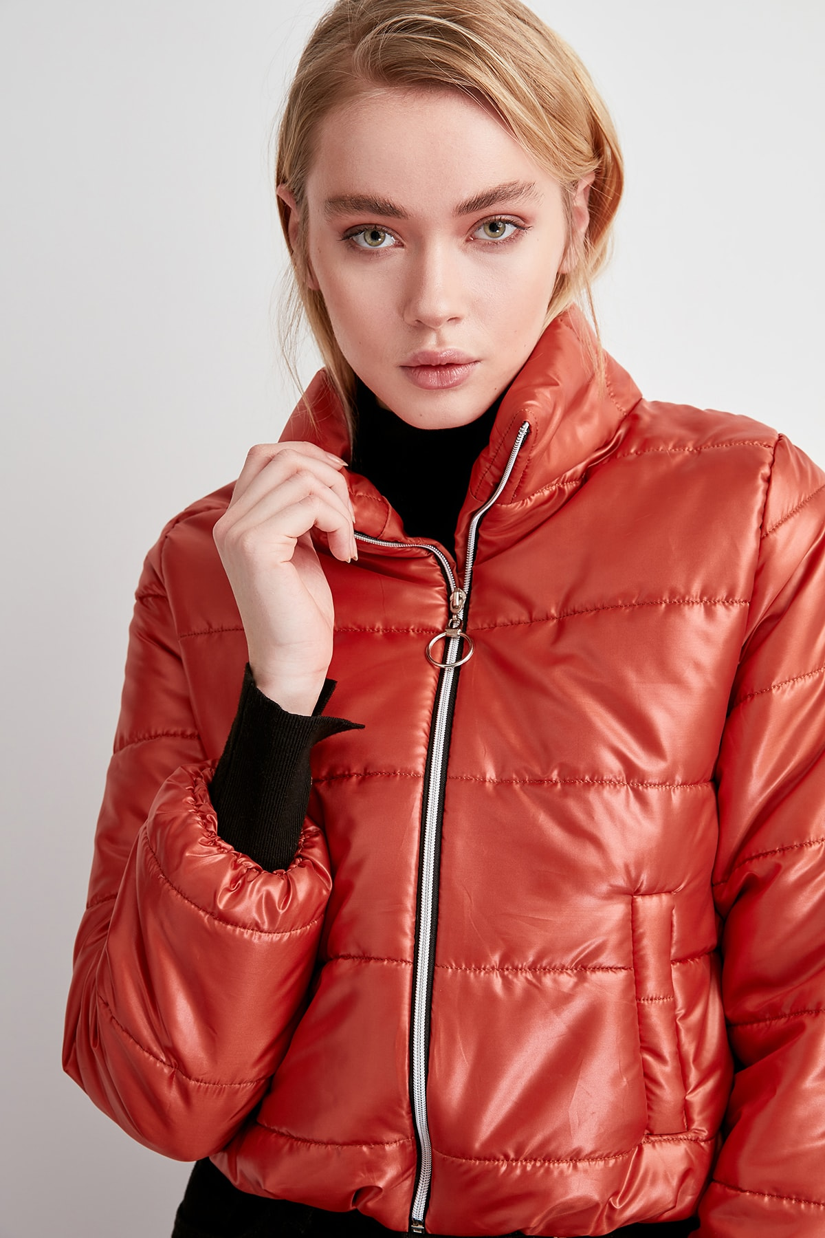 Trendyol Damson Zipper It Should Cover Upright Collar Inflatable Crop coats TWOAW20MO0088 Jackets    - AliExpress
