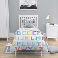 Else 4 Pcs Colored Alphabet Letters 3D Print Cotton Satin Chidren Kids Duvet Cover Bedding Set Pillow Case Bed Sheet