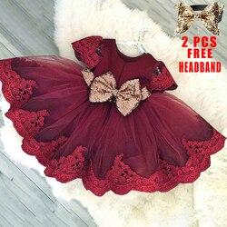 Платье для маленьких девочек с блестками и бантом, белое платье на день рождения на 1 год, платье принцессы для маленьких девочек, платье для ...