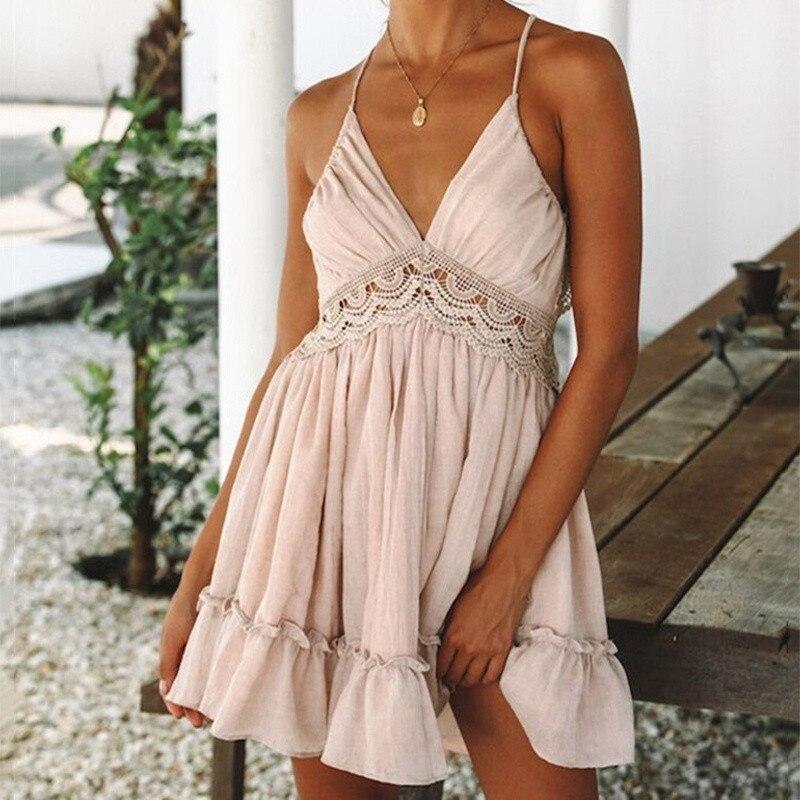 Womens V-Neck Spaghetti Strap Bowknot Backless Sleeveless Lace Mini Swing Skater Dress 4