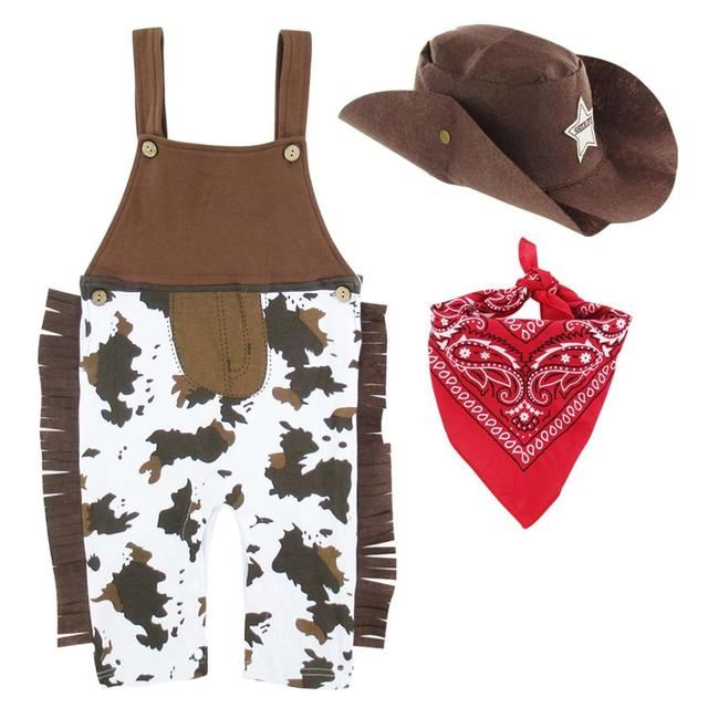 Halloween Costume Baby Boys Cowboy Romper Sets Infant Carnival Clothes Toddler Birthday Party Outfit Scarf Hat 1