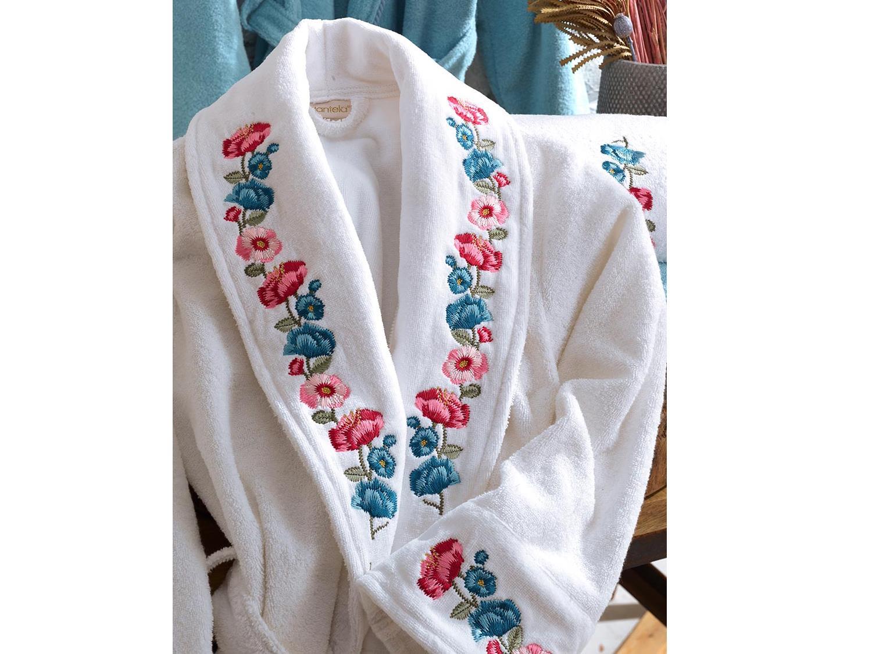Valeria Luxury Embroidered Cotton Bathrobe Set White Blue