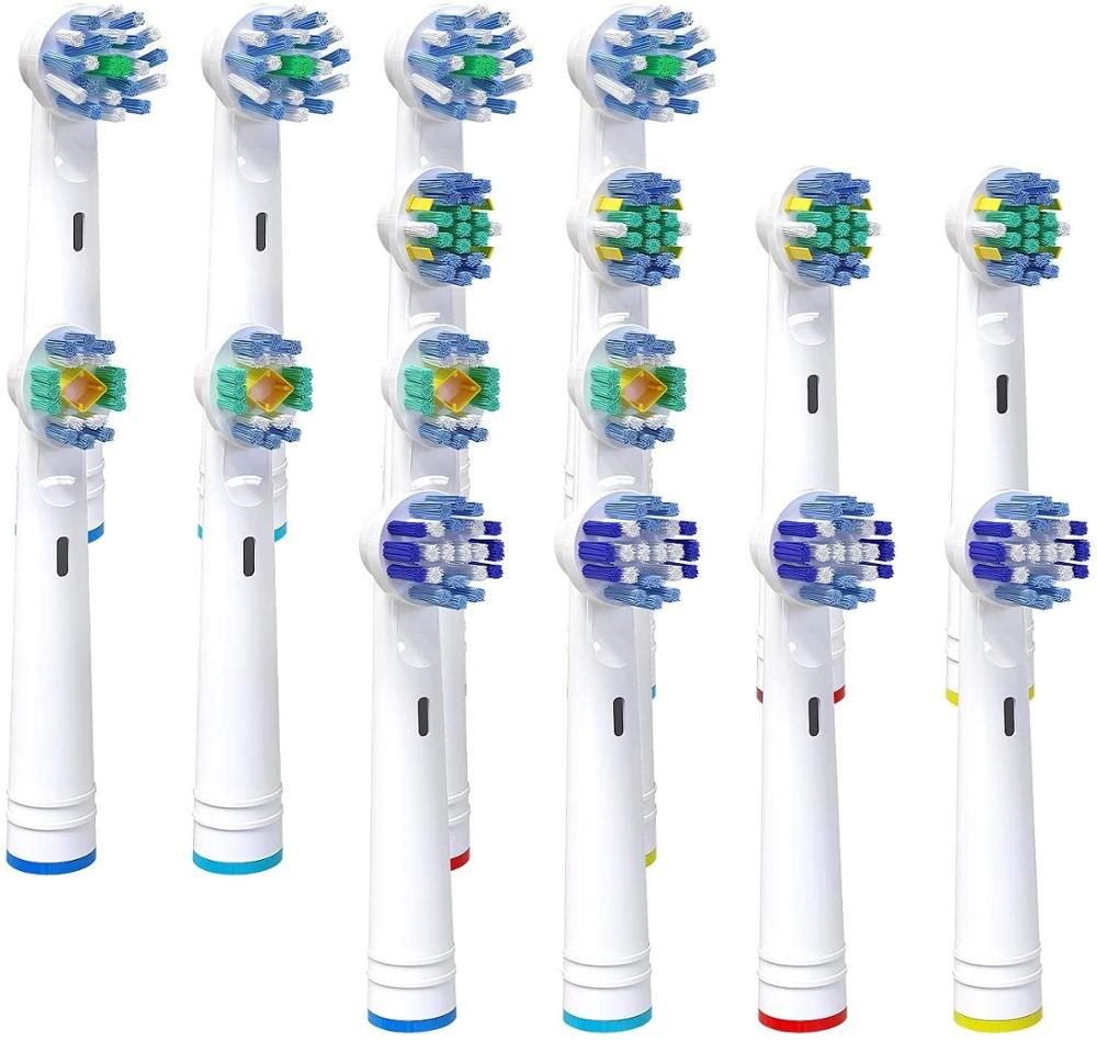 16 Auto Supplies Scrub Brush Ellectric, Complatible Oral B Floss Action 4, 4 Precision Clean, 4 3D White And 4 Cross Action