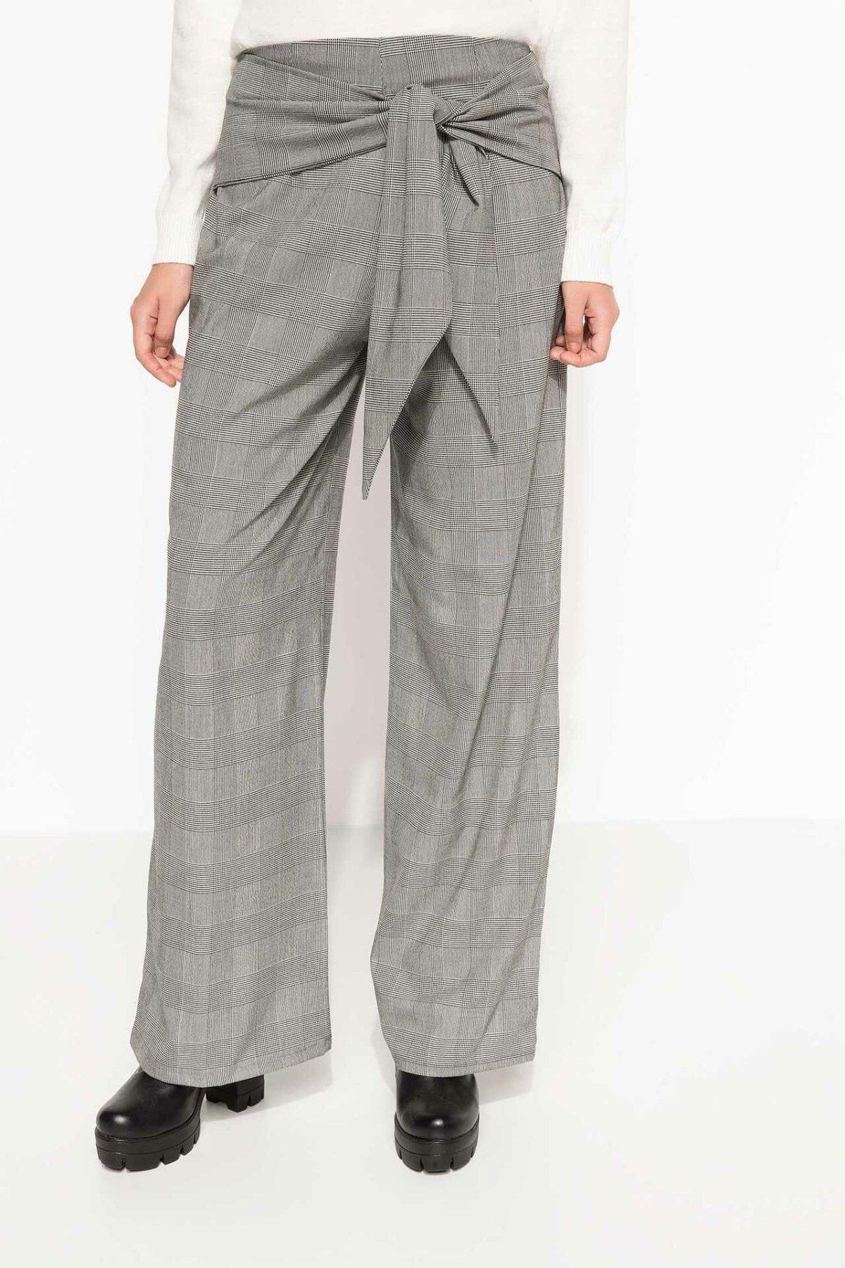 DeFacto Woman Fashion Trousers Office Ladies Belts Plaid Wide-leg Pants High Quality Simple Bottoms - I5295AZ18SP