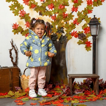 ebebek Midimod Baby Girl Spotted Hoodie Water Repellent Coat