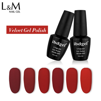 12 Jars Diy Matte Velvet Gel Fashion Nail UV Gel Designs Product and Colorful Nails Red Matte Beauty Gel Lacquer Newest Style