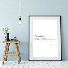 Sigmund freud sonho definição citações impressão minimalista parede arte da lona cartaz inspirador pintura imagem estudo escritório decoração
