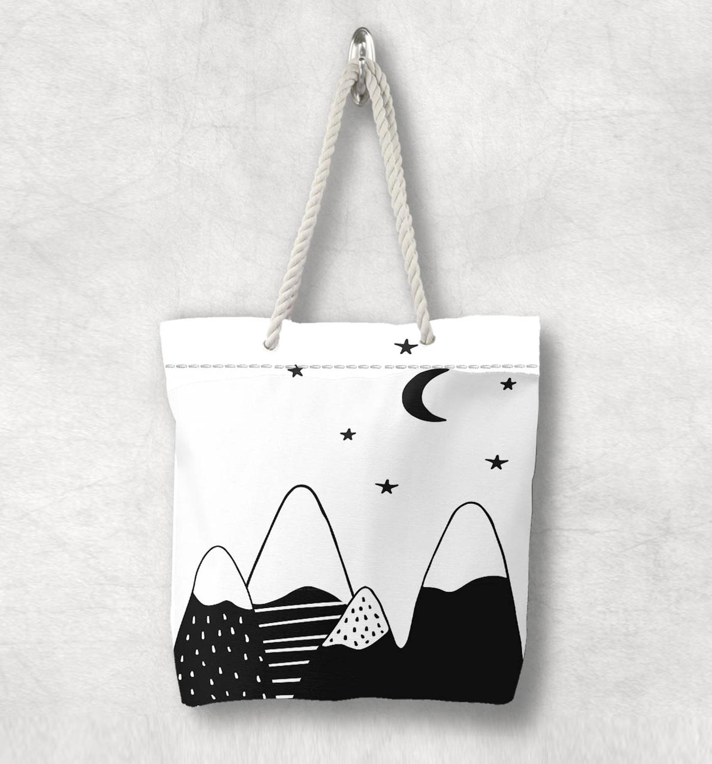 Else Black White Mountain Stars Moon  Scandinavian White Rope Handle Canvas Bag  Cartoon Print Zippered Tote Bag Shoulder Bag